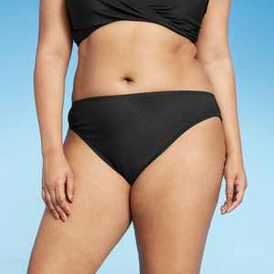 Women's Ribbed Cheeky Bikini Bottom - Shade & Shore Black