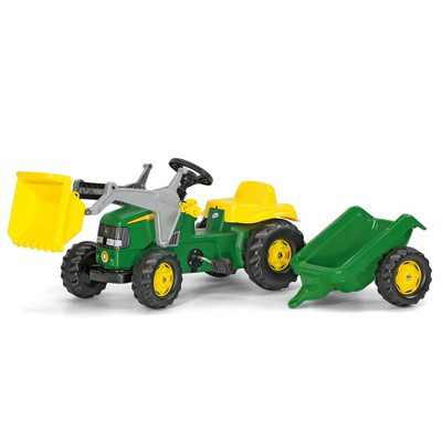 Rolly Toys John Deere Pedal Tractor w/ Working Front Loader & Detachable Trailer