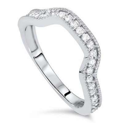 Pompeii3 1/3ct Diamond Curved Ring 14K White Gold