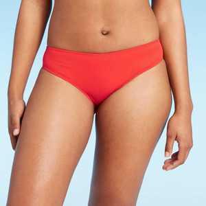 Women's Ribbed Hipster Bikini Bottom - Shade & Shore Red