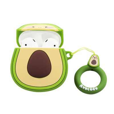 Insten Cute Case Compatible with AirPods 1 & 2 - Avocado Cartoon Silicone Cover with Ring Strap