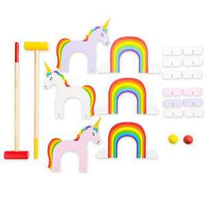 HearthSong Wooden Unicorn and Rainbow Croquet Set for Kids