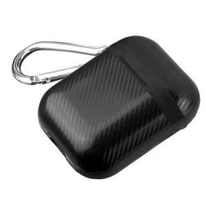 Valor Protective Case with Carabiner Clip Compatible With Apple AirPods 1/2, Black Carbon Fiber