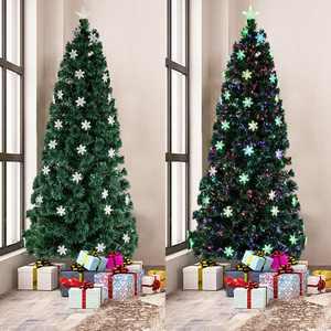 Ktaxon 7 Ft Pre-Lit Fiber Optic Artificial Christmas Tree w/Multi-Color Lights Snowflakes