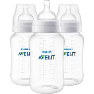 Philips AVENT Anti-colic Baby Bottle, 11oz, 3 pack, Clear, SCF406/34