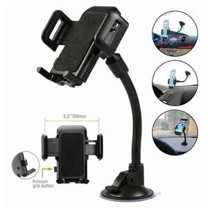"""Universal Car Phone Mount, 2 in 1 Long Arm Cell Phone Holder for Car Dashboard & Windshield with Suction Cup Compatible with iPhone Xs Max/X/XR, Samsung S10/S10+/S9/Note 9/8, All 4-6"""" Smartphones"""