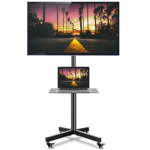 """Modern Rolling TV Stand on Wheels Computer Cart for TVs up to 60"""", Black"""