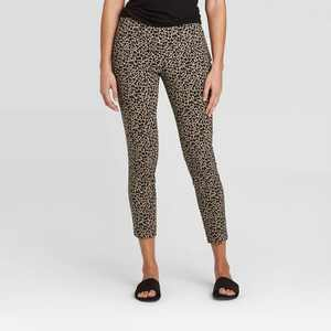 Women's Animal Print High-Rise Skinny Ankle Length Pants - A New Day Brown