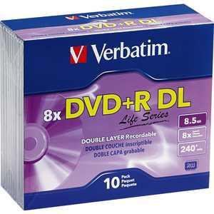 Verbatim DVD+R DL 8.5GB 8X Life Series with Branded Surface, 10 pk Slim Case