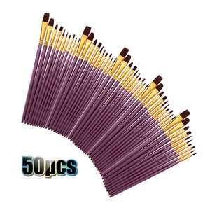 50 PCS Nylon Hair Paint Brushes Set Artist Paintbrush Lot Multiple Mediums Brushes for Watercolor Gouache Oil Painting Great Art Drawing Supplies Purple Penholder