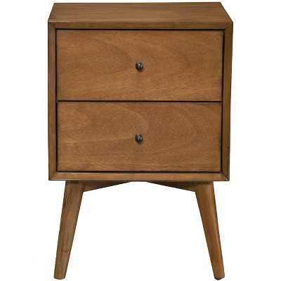 Alpine Furniture 966-02 Flynn Mid Century Modern 2 Drawer Nightstand, Acorn