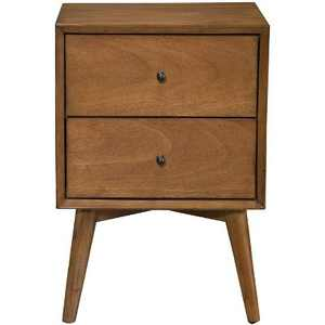 Alpine Furniture 966-02 Flynn Mid Century Modern 2 Drawer Nightstand, Acorn