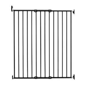 Scandinavian Pet Design Extra Tall 42 Inch Wall Mount Portable Animal Pet Safety Gate for Large and Small Dogs, Black