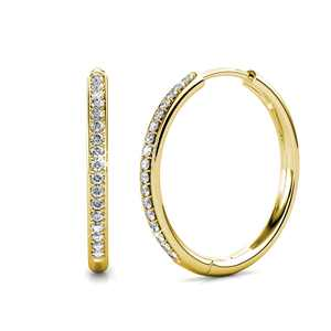 Cate & Chloe Bianca 18k White Gold Hoop Earrings with Swarovski Crystals, Crystal Drop Dangle Earrings, Best Silver Hoops for Women, Sparkle Round Hoops for Ladies, Hoop Earrings (Yellow Gold)