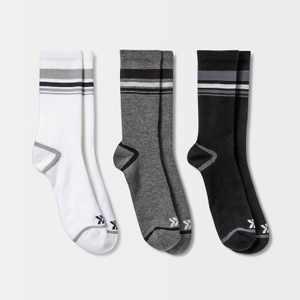 Men's 360 Striped Crew Socks 3pk - All in Motion™ 6-12