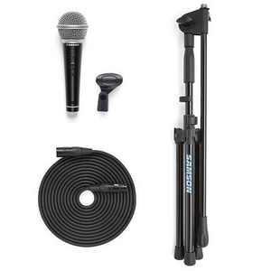 Samson VP10X Microphone Value Pack, Includes R21S Handheld Dynamic Microphone, MK10 Lightweight Boom Stand, 18' XLR Microphone Cable, Mic Clip