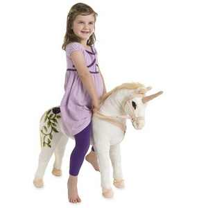 Magic Cabin - Sit-On Plush White Unicorn for Kids Pretend & Imaginative Play