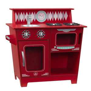 KidKraft Classic Wooden Pretend Play Cooking Kitchenette Toy Set for Kids, Red