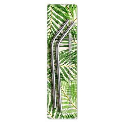 SWZLE Pack of 2 Reusable Stainless Steel Drinking Straws with Cleaning Brush and Case - Palm Leaves