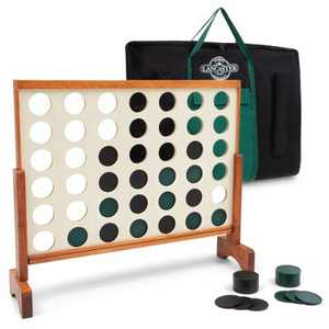 Lancaster Oversized 4-In-A-Row Wooden Outdoor Game Set w/ Carry Bag