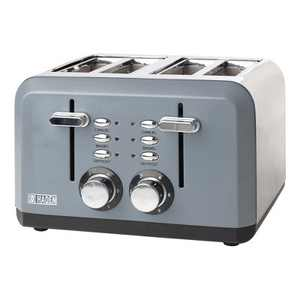 Haden 75007 Perth Wide Slot Stainless Steel Body Countertop Retro 4 Slice Toaster with Adjustable Browning Control, Slate Gray