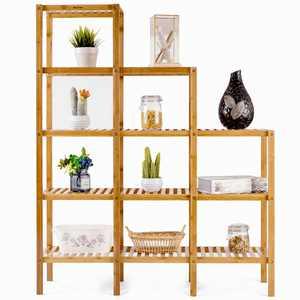 Costway Multifunctional Bamboo Shelf Storage Rack 12 Pots Plant Stand Display Organizer