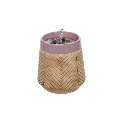 Tan Herringbone Pattern Purple Rim Indoor Water Fountain With Pump - Foreside Home & Garden