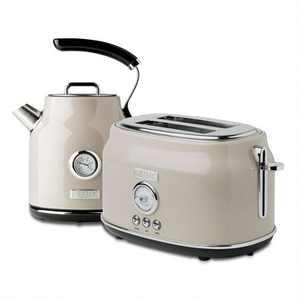 Haden Dorset Wide Slot Stainless Steel 2 Slice Retro Toaster & Dorset 1.7 Liter Stainless Steel Electric Water Kettle, Putty Beige