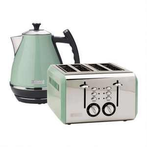 Haden Cotswold Wide Slot Stainless Steel Retro 4 Slice Toaster & Cotswold 1.7 Liter Stainless Steel Body Retro Electric Kettle, Sage Green