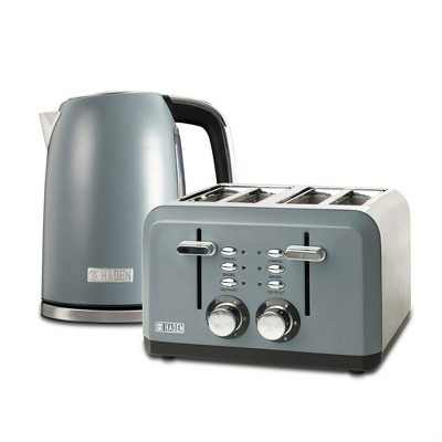 Haden Perth Wide Slot Stainless Steel Body Retro 4 Slice Toaster & Perth 1.7 Liter Stainless Steel Electric Kettle with Auto Shut Off, Slate Gray