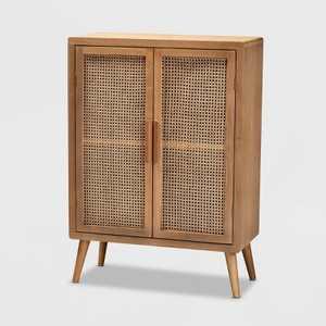 Alina Wood and Rattan 2 Door Accent Storage Cabinet Oak - Baxton Studio