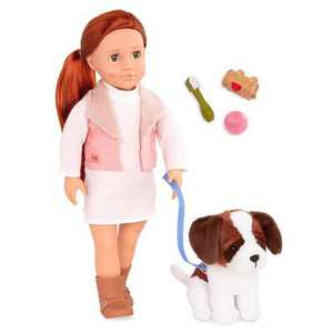 "Our Generation 18"" Doll & Pet Set - Delphia with Plush Saint Bernard Dog"