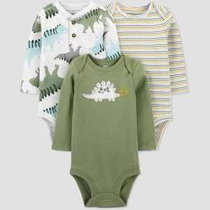 Baby Boys' 3pk Dino Long Sleeve Bodysuit - Just One You® made by carter's Green 3M