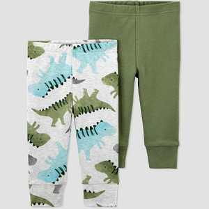 Baby Boys' 2pk Dino Pull-On Pants - Just One You® made by carter's Green Newborn