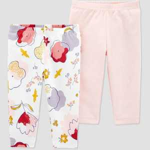 Baby Girls' 2pk Organic Floral Pull-On Pants - little planet organic by carter's White/Pink Preemie