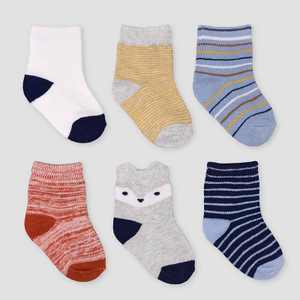 Baby Boys' 6pk Striped Crew Socks - Just One You® made by carter's 0-3M