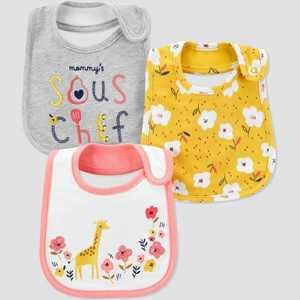 Baby Girls' 3pk Floral Bib Set - Just One You® made by carter's Yellow