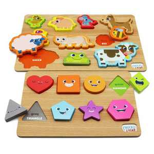 Chuckle & Roar Shapes & Animals Learning Puzzles - 2pk