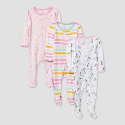 Baby Girls' 3pk Unicorn Adventure Sleep N' Play - Cloud Island™ Pink/White Newborn