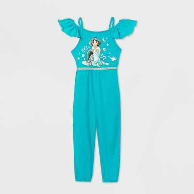Toddler Girls' Disney Sleeveless Princess Jasmine Romper - Aqua