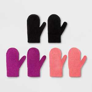Toddler Girls' 3pk Magic Mitten - Cat & Jack™ Pink/Purple/Black 2T-5T