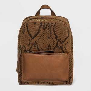Snake Skin Zip Closure Square Backpack - Universal Thread™ Cognac