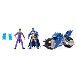 "BATMAN Batcycle Vehicle with Batman and The Joker 4"" Action Figures"
