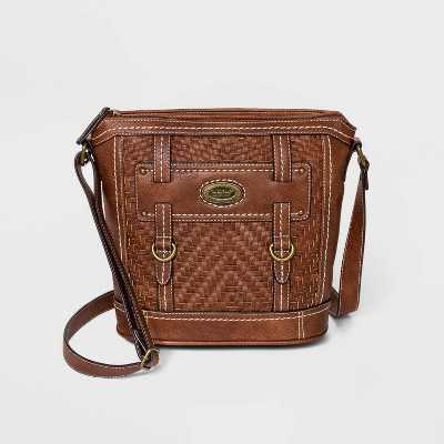 Bolo Zip Closure Zigzag Woven Crossbody Bag - Brown