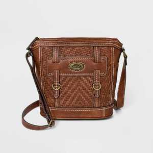 Bolo Zip Closure Zigzag Woven Crossbody Bag - Brown