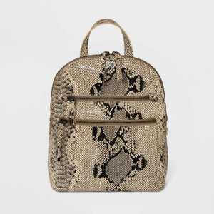 Bolo Snake Print Zip Closure Backpack - Brown