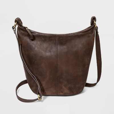 Bolo Zip Closure Leather Shoulder Bag - Brown