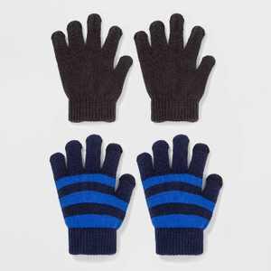 Boys' 2pk Striped Gloves - Cat & Jack™ Blue