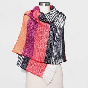 Women's Striped Blanket Scarf - A New Day™ Red