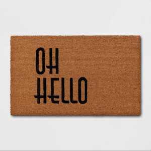 "1'6""x2'6"" Oh Hello Doormat Black - Threshold™"